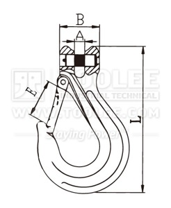 300 1228 Sling Hook Clevis Type with Heavy Duty Safety Latch France type G80 Drawing