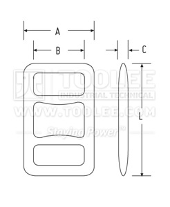 300 7025 One Way Lashing Buckle drawing