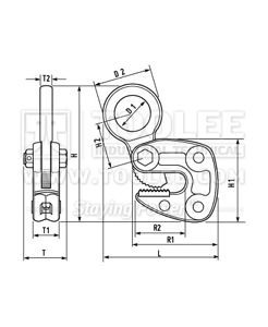 300 9203 LC Type Horizontal Plate Lifting Clamp Drawing