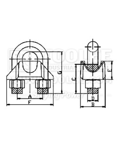 300 2104 Wire Rope Clip US Type GALV Malleable Drawing