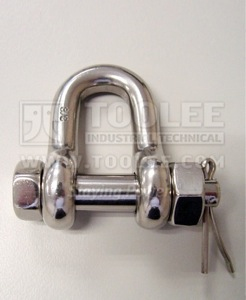 500 5710 Stainless Steel Dee Shackle Bolt Type with Safety Pin  Nut US SPEC