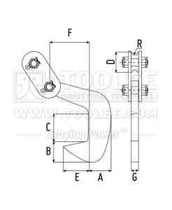 300 9218 PDQ Type Single Steel Plate Lifting Clamp Drawing