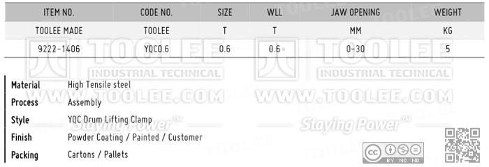 9222 YQC Drum Lifting Clamp DATA