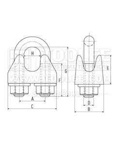 300 2102 Wire Rope Clip DIN1142 drawing