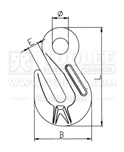 300 1237 Shortening Grab Eye Hook Italy Type G80 drawing