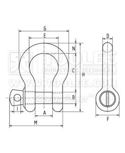 300 1101 Anchor Shackle With Screw Collar Pin US SPEC G209 6 1 drawing