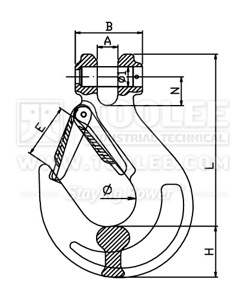 300 1222 Sling Hook Clevis Type with Safety Latch G80 drawing