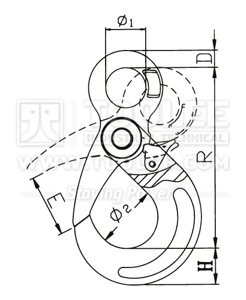 300 1204 Safety Hook Eye Type With Self Locking Latch G80 Commercial drawing