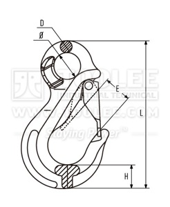 300 1268 Eye Sling Hook with RECESSED LATCH Drawing