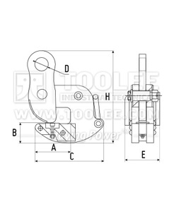 300 9214 DFQ Type Turning Lifting Clamp Drawing