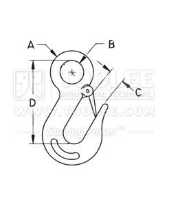300 5283 Slip Hook Eye Type Stainless Steel Drawing