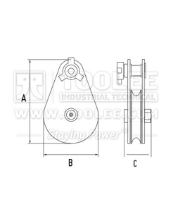 300 2812 01 Super Champion Snatch Block Tail Board Single Sheave 407 Drawing