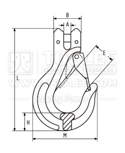 300 1267 Clevis Sling Hook with RECESSED LATCH Drawing