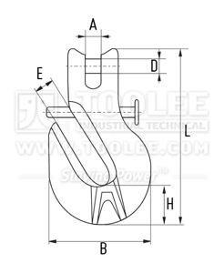 300 1276 Shortening Grab Clevis Hook With Safety Locking Pin Drawing