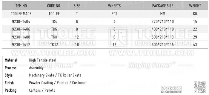 9230 Machinery Skate TK Roller Skate DATA