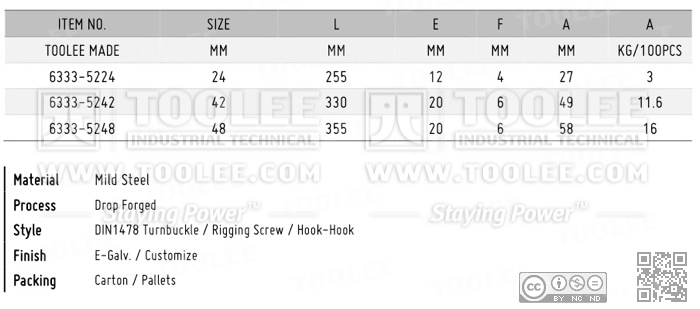 6333 Turnbuckle DIN1478 Hook Hook DATA