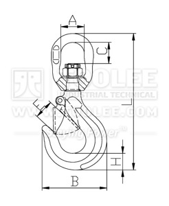 300 1271 Swivel Hook with Latch G80 Drawing