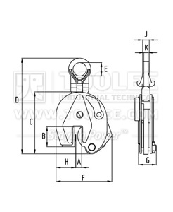 300 9212 YDG Type Horizontal Lifting Clamp Drawing
