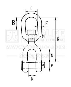 300 1628 403 Eye Jaw Swivel Link Drawing