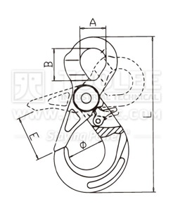 300 1217 Safety Hook Eye Type With Self Locking Latch Italy type G80 drawing