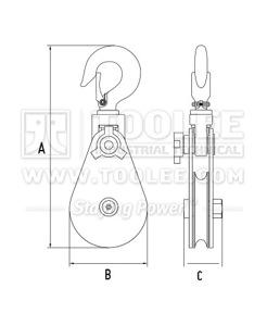 300 2810 11 Light Champion Snatch Block With Hook Single Sheave 418 Drawing