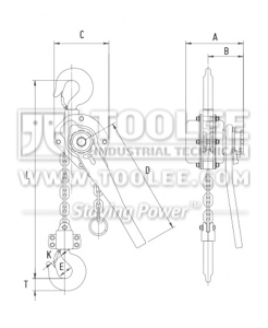 300 9052 lever Block HSH V Drawing