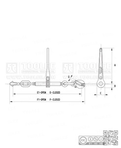 300 7028 Ratchet Load Binder With Safety Pin EN12195 3 drawing