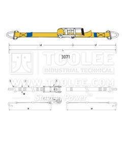 300 3071 75MM Ratchet Tie Down Drawing