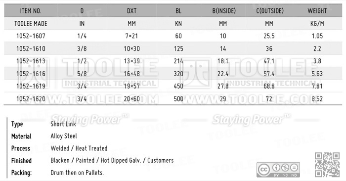 1052 Fishing Chain Grade 80 Short Link DATA