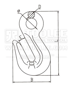 300 1241 Shortening Grab Eye Hook Type A G80 drawing