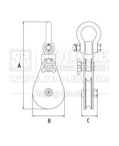 300 2811 21 Champion Snatch Block With Shackle Single Sheave 421 Drawing