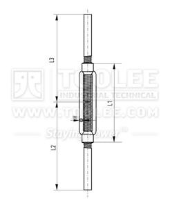 300 6304 Turnbuckle DIN1480 Stub Stub  welding Ends Drawing