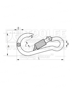 300 5452 Snap Hook with Safety Screw drawing