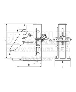 300 9213 PDK Type Multi Plate Lifting Clamp for Sheet Board DHQK Model Drawing