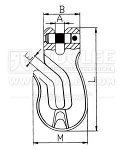 300 1240 Shortening Grab Clevis Hook Special type G80 drawing