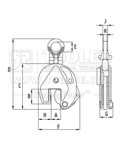300 9208 CDK Type Vertical Lifting Clamp DSQK Model Drawing