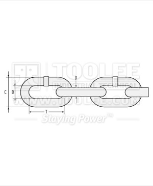 300 1051 Fishing Chain Grade 80 Mid Link Drawing