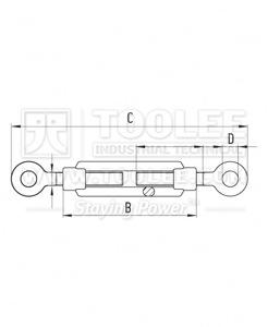 300 5541 Turnbuckle DIN1480 Eye Eye drawing