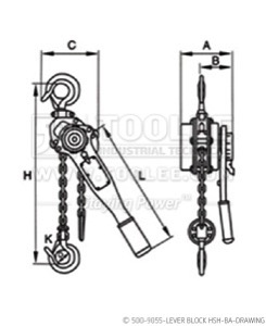 300 500 9055 lever Block HSH BA Drawing WM