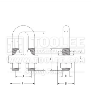 300 2111 Double Saddle Wire Rope Clip Drawing