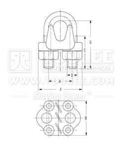 300 2105 Galv Malleable Wire Rope Clip Type A drawing