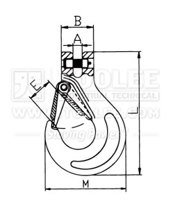 300 1226 Sling Hook Clevis Type with Safety Latch Italy Type G80 drawing