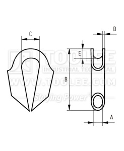 300 2214 Tube Thimble Without Gusset Tilt Type Drawing