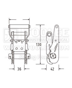 300 3143 1 5IN 35MM Ratchet Buckle Drawing WM