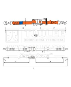 300 3051 50MM Ratchet Tie Down Drawing