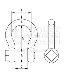 300 1128 Trawling Bow Shackle Square Head European equal pin drawing