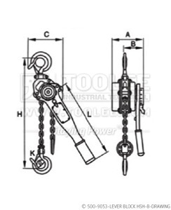 300 500 9053 lever Block HSH B Drawing WM