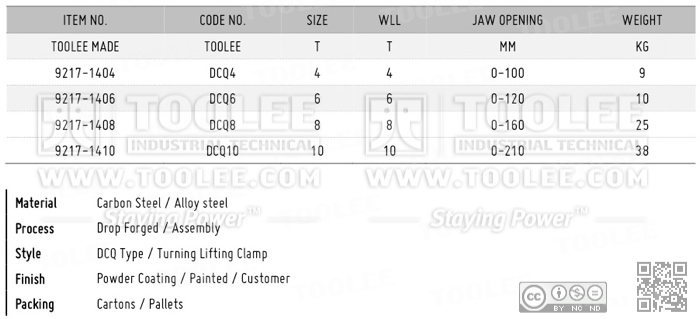 9217 DCQ Type Double Steel Plate Lifting Clamp DATA