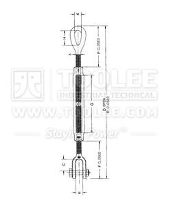 300 6313 Turnbuckle US Type Eye Jaw  HG 227 drawing