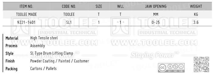 9221 SL Type Drum Lifting Clamp DATA